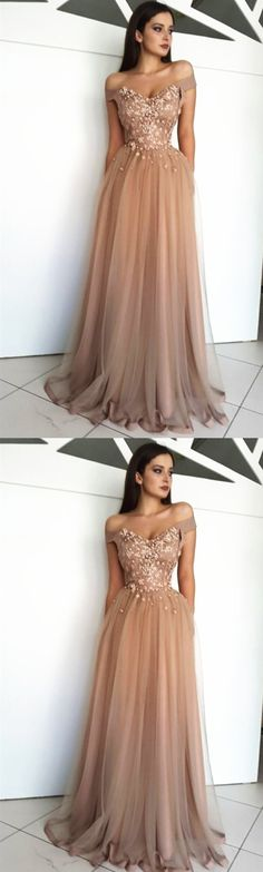 Custom Made A Line Off Shoulder Tulle Prom Dresses, Off Shoulder Formal Dresses, Graduation Dresses M3973