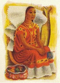 Girl dressed up for festival (Muchacha vestida para fiesta). Miguel Covarrubias en Mexico South, Alfred A. Knopf, 1947.
