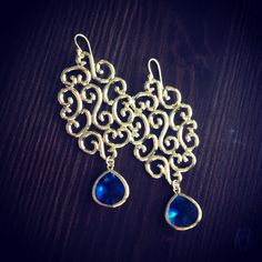 Cora in Gold  Sapphire by xoMonicaAnnDesigns on Etsy