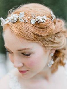 Edera Jewelry 2017 Language Of Flowers Collection Damask Rose Hair Vine Bridal Cuff, Bridal Tiara, Bridal Lace, Bridal Earrings, Bridal Jewelry, Headpiece Jewelry, Bridal Headpieces, Flower Headpiece Wedding, Bridal Hair Vine