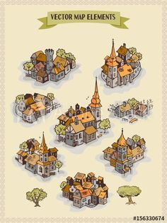 Vector map elements, colorful, hand draw - settlement, city, village - Buy this stock vector and explore similar vectors at Adobe Stock Fantasy Map Making, Fantasy World Map, Fantasy Art, Rpg Map, Dungeon Maps, Treasure Maps, Map Symbols, Map Vector, Drawing Reference Poses