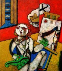 Autorretatro con ocho dedos (Homenaje a Marc Chagall)