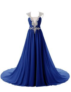 Dressystar Straps V-Neck Prom Formal Gowns Chiffon Backless Bridal Dress with Train | Amazon.com