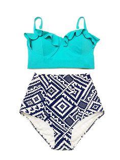 Mint Green Midkini Top and Graphic High waist waisted Bottom Vintage Swimsuit Swimwear Bikini Swimming Swim wear Bathing suit suits S M L XL