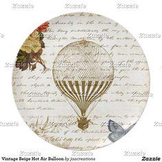 De vintage Beige Ballon van de Hete Lucht Bord