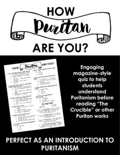 How Puritan are you? Quiz — Perfect as an intro to Puritanism or The Crucible How Puritan are you? Quiz — Perfect as an intro to Puritanism or The Crucible High School Classroom, English Classroom, Classroom Ideas, English Teachers, Future Classroom, Student Teaching, Teaching Resources, Teaching Secondary, Teaching Ideas