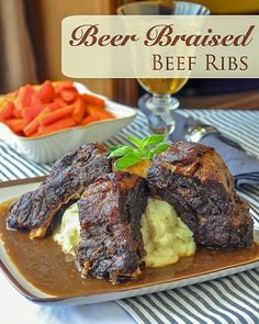 St. John's Stout Braised Beef Ribs. Fall off the bone, slow-cooked, tender, braised beef ribs that make their own gravy. #slowcooked #beefrecipes #comfortfood #sundaydinner #stpatricksday
