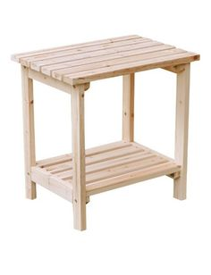 Wood patio side table - a rustic piece of furniture made of real hardwood.
