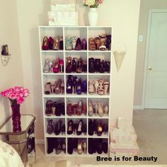 Pretty shoe storage in the bedroom using 2 ClosetMaid 9 Cube Organizers.