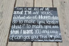 50 Shades of Grey Quote on 12x12 Canvas Panel. $20.00, via Etsy.