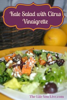 Kale Salad with Citrus Vinaigrette Recipe. This salad is healthy, light and delicious. And the Citrus Vinaigrette is to die for!