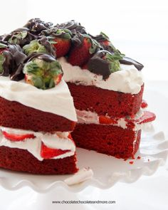 Red Velvet Strawberry Shortcake-A moist crumbed cake, layered with fresh whipped cream, strawberries and chocolate ganache!