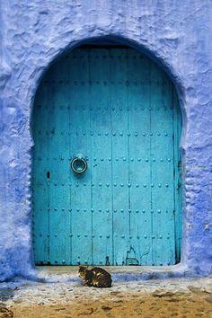 Blue door and blue walls..