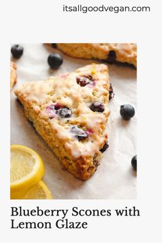 Who else loves the combination of blueberries and lemon? These Blueberry Scones are flakey on the outside and tender on the inside. Topped with a tangy yet sweet lemon glaze and dusted with lemon zest. This recipe is easy to make and only requires 12 ingredients and 1-bowl. I can't wait to see how you like these! Healthy Vegan Breakfast, Savory Breakfast, Vegan Desserts, Vegan Recipes, How To Make Scones, Cranberry Orange Scones, Blueberry Scones, Tasty Pancakes, Recipe Of The Day