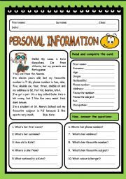 PERSONAL INFORMATION English Grammar Quiz, English Class, Vocabulary Worksheets, Fifth Grade, Exercises, Self, This Or That Questions, Reading, Texts