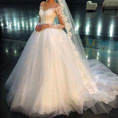 Long Sleeve Ball Gown Wedding Dresses New Floor Length Lace Applique Ruffle Pleats Bridal Dress Wedding Gowns Wedding Dresses Near Me, Affordable Wedding Dresses, Wedding Dress Trends, Bohemian Wedding Dresses, Bridal Dresses, Wedding Gowns, Bling Wedding, Wedding Ideas, Bateau Wedding Dress