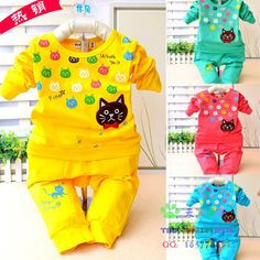 Autumn Candy color cartoon baby cloth set infant long sleeve cloth suit