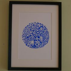 Screen printed tree poster blue or red £10.00