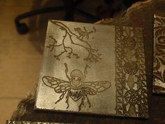 Metal Printmaking – Kelly's etched steel plate. Steel Plate, Printmaking, Burlap, Workshop, Students, Reusable Tote Bags, Metal, Crafts, Atelier