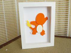 "Fire Charmander Layered Paper Cut Art Piece 5""x7"" Shadowbox Frame"