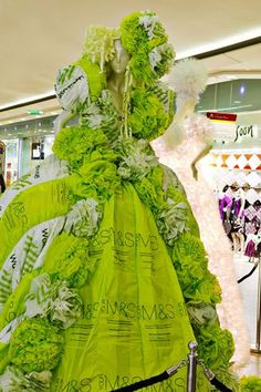 green gown, Marks and Spencer, Waitrose, ruffles, giant    I think this dress is composed of bags from Marks & Spencer and Waitrose    laceandflora: Zoe Bradley.