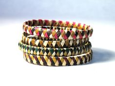 our perfect-for-stacking woven banana bracelets