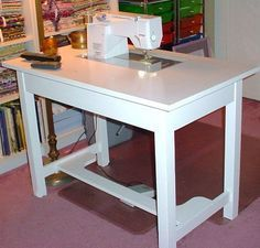 Make your own Sewing Machine Cabinet Table I NEED to do this! But I would use a longer table for bigger pieces.