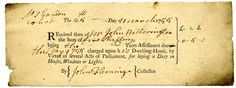 Window tax receipt, dated 25March 1755. The window tax, based on the number of windows in a house, was first introduced in 1696 by William III to...