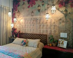 Garden Style Vintage Bedroom Reveal • One Brick At A Time Red Bedroom Design, Bedroom Red, Bedroom Vintage, Ethnic Bedroom, Asian Bedroom, Teen Wall Decor, Room Wall Decor, Indian Home Interior, Indian Home Decor