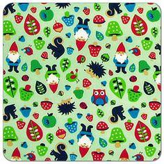 Woodland Gnomes Print PUL Fabric | Diaper Sewing Supplies