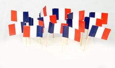 Flag toothpicks featuring the flag of France are an easy way to welcome, support, celebrate, & honor France & the French. The official flag of France features 3 equal vertical bands of blue, white & red with the blue band featured on the hoist side. Paris Decor, Paris Theme, Storming The Bastille, Happy Bastille Day, France Flag, World Thinking Day, 1st Birthday Parties, Themed Parties, 8th Birthday