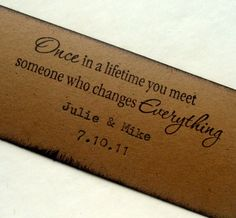 Custom Wedding favor tag, Romantic text, Personalize names and date, hand typed, set 10. $12.00, via Etsy.