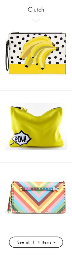 Clutch by claudia-nunes04 on Polyvore featuring women's fashion, bags, handbags, clutches, purses, evening bags, yellow hand bags, pattern purse, yellow clutches and evening hand bags