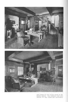 Two views of a Craftsman furnished living room, from The Craftsman Magazine (October 1911), pp. [79]-85.