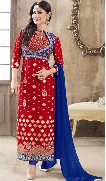 Deep Scarlet Color Cotton Straight Cut Style Stitched Salwar Kameez with Dupatta #casual, #salwar, #kameez, #online, #trendy, #shopping, #latest, #collections, #summer,#shalwar, #hot, #season, #suits, #cheap, #indian, #womens, #dress, #design, #fashion, #boutique, #heenastyle, #clothing, #cotton, #printed, #materials, @heenastyle