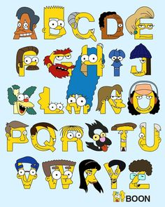 Alphabet inspired by several characters from The Simpsons