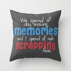 Scrapbooking Throw Pillow by Lilach Oren - $20.00