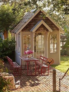 Love the outside table #shedlandscaping