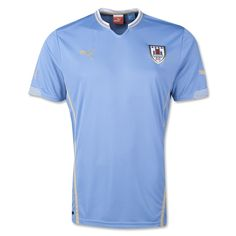 According to PUMA: Ahead of Uruguay's match against Austria today, PUMA has revealed the new kits that the team will wear in Brasil this year, where they will look to repeat the success of their 1950 FIFA World Cup win. La Celeste will debut the new kit on pitch tonight in their match against Austria in Klagenfurt.