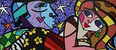 "Romero Britto ""Sweet Talk"" Limited Edition on Canvas 20"" x 45"""
