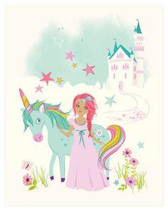 Princess & Unicorn Nursery wall art for girls by SeaUrchinStudio