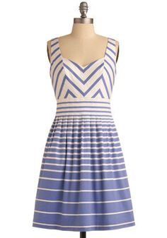 Blue and white dress, striped, modcloth
