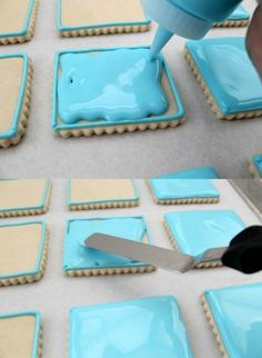 This is a great blog with clear tutorials for making gorgeous sugar cookies.  A sugar cookie recipe too.