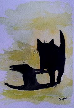 Original Watercolor Painting Fat Black Cat by pinetreeart on Etsy