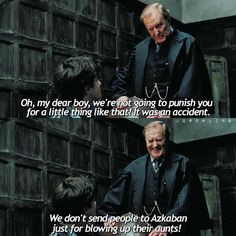 But for protecting cousins from dementors, because that MUGGLE saw you using magic..