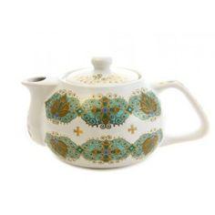 Decal vines handmade ceramic teapot, $15.00, Catalog of St. Elisabeth Convent. #CatalogOfGoodDeed #handmade #buy #order gift #present #art #DECORATION #craft #ceramic #pottery #dishes #teapot #tea #sweethome #decal