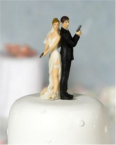 "A wedding cake topper for husband and wife police officers....or regular couples with ""Mr. & Mrs. Smith"" or James Bond 007 fantasies! ;)"