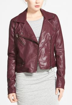 This oxblood leather jacket is sleek and sophisticated with a touch of old-school biker edge.