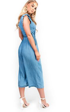 View the Mila Denim Jumpsuit online at iKrush Ladies Day Dresses, Denim Jumpsuit, Playsuit, No Frills, Tie Dye, Cold Shoulder Dress, Lace Up, Lady, Casual