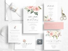 Good Photographs Blush floral wedding invitation template - Printable boho wedding invitations - Pink editable invita Concepts Wedding Invitation Cards-Our Tips When the time of your wedding is fixed and the Area is booked, jus Pink Wedding Invitations, Unique Invitations, Invites, Wedding Menu Template, Wedding Invitation Templates, Boho Wedding, Wedding Details, Blush, Printable